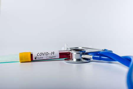 Covid-19 - test tube with blood of a patient with virus. Concept of Quarantine Novel Coronavirus pneumonia Stok Fotoğraf