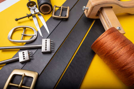 Leather crafting tools still life. Handmade accessories. Stok Fotoğraf