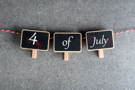 July 4th. Image of july 4 little tag calendar. Summer day. Independence Day Of America Standard-Bild