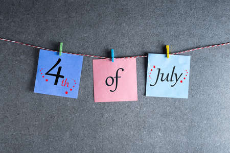Independence Day Celebration. July 4th. Image of july 4 calendar at grey background. Summer day Standard-Bild