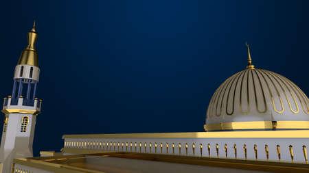 3d mosque background, gold and blue, ramadan kareem, 3d rendering top view Reklamní fotografie