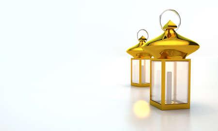 Gold lantern in the right side. ramadan kareem background