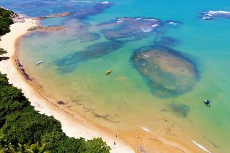 Aerial view of a paradise with clear water. Fantastic landscape. Great beach view. Espelho Beach, Trancoso, Porto Seguro, Bahia, Brazil Фото со стока