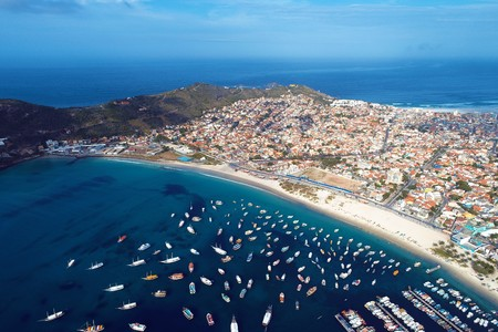 Arraial do Cabo, Brazil: Aerial view of a paradise sea with clear water. Fantastic landscape. Great beach scene. Vacation travel. Travel destination. Candles, sailboats and boats on the harbor! Brazillian Caribbean.