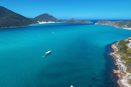 Arraial do Cabo, Brazil: Aerial view of a blue sea and clear weather. Pontal's beaches. Fantastic landscape. Great beach scene. Vacation travel. Travel destination. Caribbean sea. Tropical travel. Paradise.