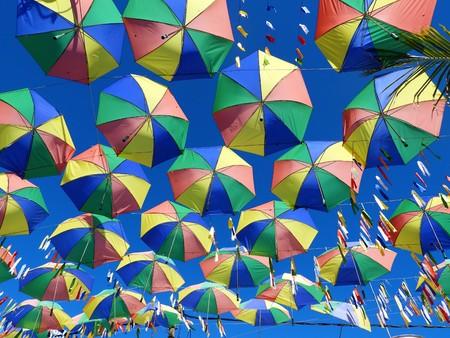Symbol of the culture of Pernambuco, state of Brazil. Frevo, umbrella, music, dance, culture. Photographed in Porto de Galinhas, Pernambuco, Brazil. Imagens