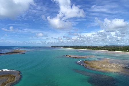 Vacation on a deserted beach with natural pools in Brazil. Sao Miguel dos Milagres, Alagoas, Brazil.