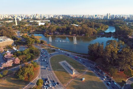 Aerial view of Ibirapuera's Park in the beautiful day, Sao Paulo Brazil. Great landscape. Stock fotó