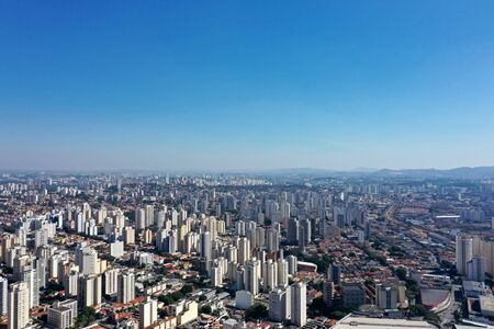 Panoramic view of city life scene in the sunny day. Cityscape scenery. Great landscape 版權商用圖片