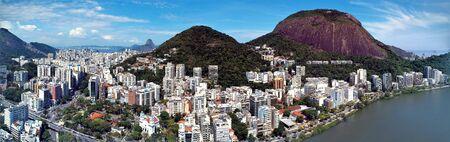Aerial view of Rodrigo de Freitas's Lagoon, Rio de Janeiro city in the sunny day, Brazil. Great landscape. Famous wonderful city. Travel destination. Tropical travel. Vacation destination. 版權商用圖片