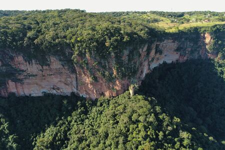 Aerial view of Morro dos Ventos Observatory, Chapada dos Guimaraes, Mato Grosso, Brazil. Great landscape. Travel destination. Vacation travel. Wind Hill Observatory. Touristic point. 版權商用圖片