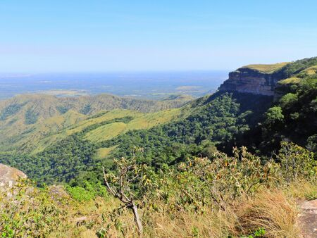 Sunset at Chapada dos Guimares with beautiful scenery, Mato Grosso, Brazil. Great landscape. Travel destination. Vacation travel.