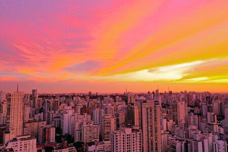 Panoramic view of sunset in the city life scene. Great landscape.