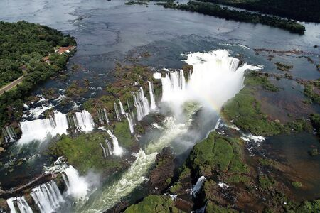Aerial view of beautiful waterfalls in the mountains. Great landscape. Nature's beauty scene,