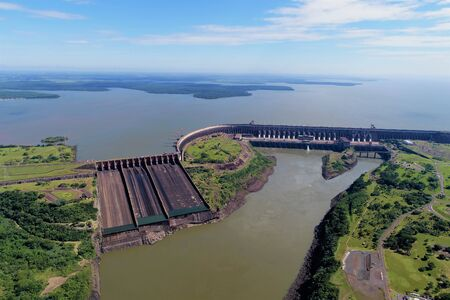 Aerial view of beautiful dam. Great landscape. Nature's beauty scene.