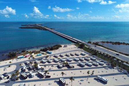 Aerial view of trailer park in the way to Key West, Florida Keys, United States. Great landscape. Vacation travel. Travel destination. Tropical scenery. Caribbean sea. American culture.