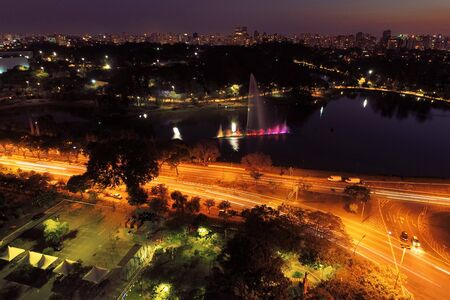 Aerial view of Ibirapuera's Park at night, Sao Paulo, Brazil. Great landscape.