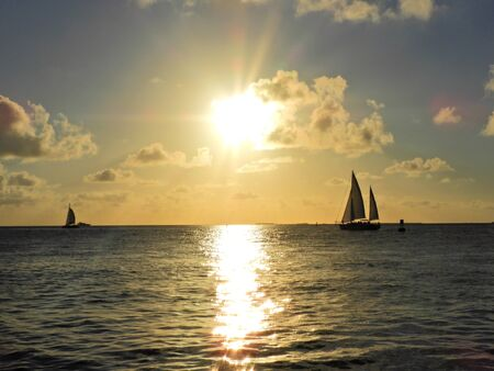 Aerial view of famous sunset in the Key West, Florida Keys, United States. Great landscape. Vacation travel. Travel destination. Tropical scenery. 版權商用圖片