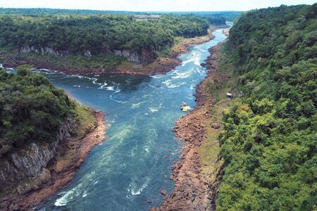 Aerial view of Iguazu Falls, a tourism point of Foz do Igua?u, Brazil and of Misiones, Argentina. Great landscape.