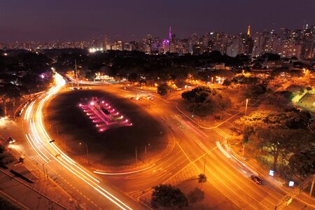 Aerial view of Ibirapuera's Park at night, Sao Paulo, Brazil. Great landscape. Stock fotó - 150293543