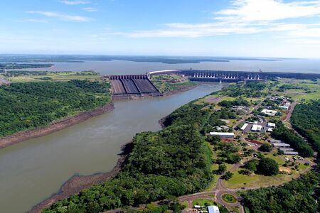 Aerial view of dam. Great landscape. Energy generation. Hydroelectric scene.