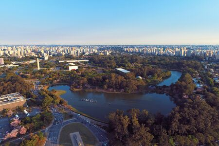 Aerial view of Ibirapuera's Park in the beautiful day, Sao Paulo Brazil. Great landscape. Stock fotó - 150293566