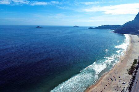 Aerial view of Barra da Tijuca's Beach, Rio de Janeiro city in the sunny day, Brazil. Great landscape. Vacation travel. Travel destination. Tropical travel. 版權商用圖片