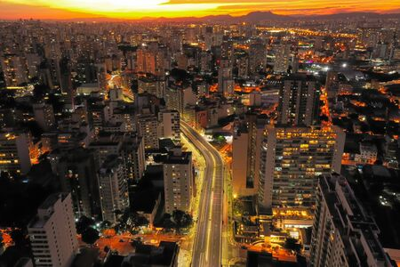 Aerial landscape of city life scene. Great cityscape scenery.