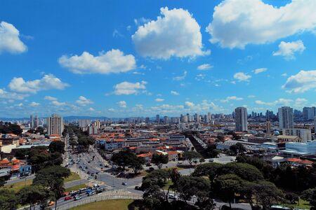 Aerial landscape of city life scene. Great cityscape scenery. Stock Photo