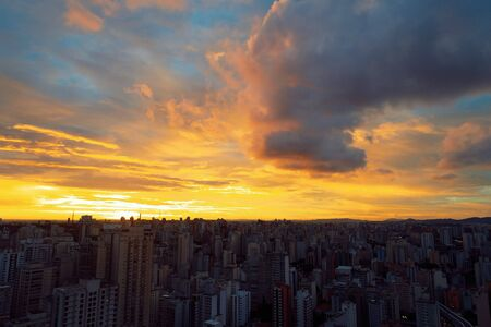 Panoramic view of aerial scene of city life
