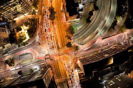 Aerial view of crossing Doctor Arnaldo and Paulista Avenues, Sao Paulo, Brazil. Night's scenery. Downtown's scene. Landmark of the city, Heart of Sao Paulo.