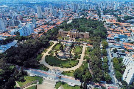Aerial view of public Brazil's independence park and museum. Ipiranga, Sao Paulo, Brazil. Landmark of th city. Tourism point.