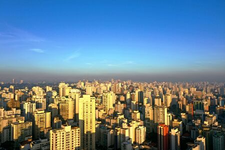 Aerial view of sunrise in Sao Paulo, Brazil. Great landscape.