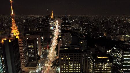 Aerial view of city at night. Sao Paulo, Brazil. Great landscape.
