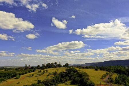 Aerial landscape of countryside scene. Great rural life scenery.
