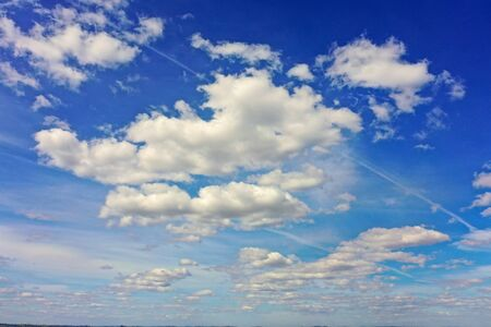 Aerial view of beautiful clouds in the blue sky. Great landscape. 版權商用圖片