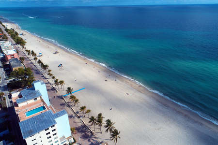 Aerial view of Hollywood Beach, Miami, United States. Great landscape. Vacation travel. Travel destinations.