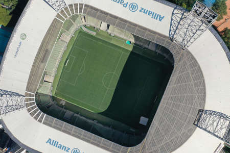 S?o Paulo, S?o Paulo, Brazil 05/31/2020 - Aerial landscape of Allianz Parque stadium in the sunny day nearest Palmeiras Barra Funda train station. Great landscape.