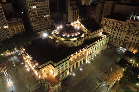 Municipal's Theater of Sao Paulo aerial view, Brazil. Fantastic landscape. Downtown scenery. Night scenery. City's Landmark.