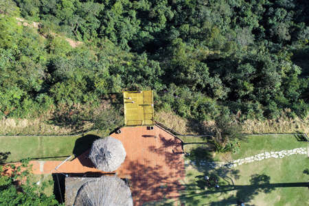 Aerial view of Morro dos Ventos Observatory, Chapada dos Guimaraes, Mato Grosso, Brazil. Great landscape. Travel destination. Vacation travel. Wind Hill Observatory. Touristic point. 新聞圖片