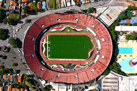 Sao Paulo, Sao Paulo, Brazil - 06/07/2020 - Panoramic view of Cicero Pompeu de Toledo Stadium. Great landscape. Morumbi Stadium. 新聞圖片