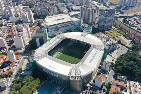 Sao Paulo, Sao Paulo, Brazil 05/31/2020 - Aerial landscape of Allianz Parque stadium in the sunny day. Allianz Parque Stadium. Great landscape. 新聞圖片