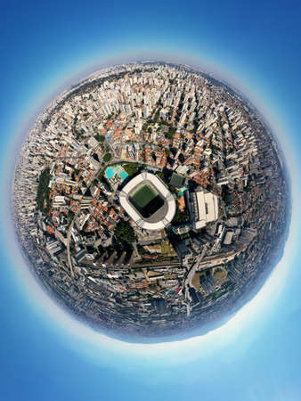 Aerial landscape of Allianz Parque stadium in the sunny day. Allianz Parque Stadium. Great landscape. 新聞圖片