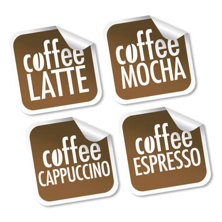 Latte, Mocha, Cappuccino and Espresso stickers  Vector