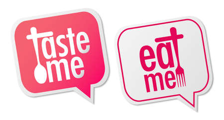 Taste me and Eat me stickers Stock Vector - 13984436
