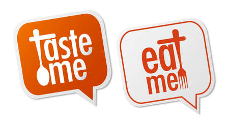 Taste me and Eat me stickers Vector