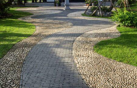 concrete block and stone pathway