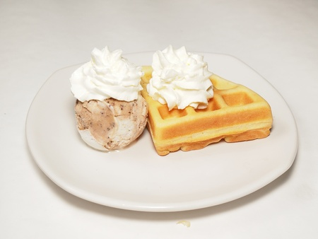 Waffle and icecream with whipping cream toping Stock Photo - 16012938