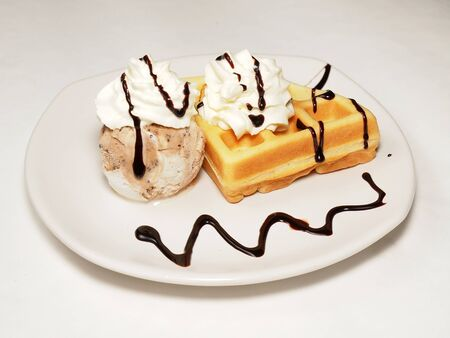 Waffle and icecream with whipping cream toping Stock Photo - 16012939