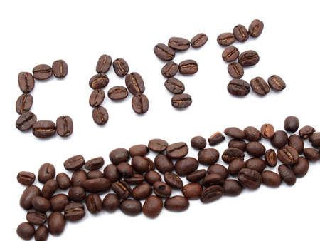 coffee beans text as cafe Stock Photo - 17693025